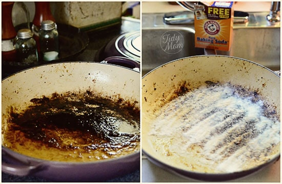 use baking soda to clean burnt pan