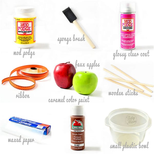 Faux Caramel Apple Tutorial Supplies at TidyMom.net
