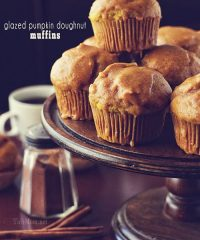Glazed Pumpkin Doughnut Muffins are baked and then coated with a pumpkin glaze to tastes just like a doughnut! I love how much the pumpkin flavor shines through these pumpkin muffins.  With their dense 'cake doughnut' texture, that's not overly sweet,  it's perfect with a double dip of pumpkin glaze on top. Print the full recipe at TidyMom.net #pumpkin #muffin #tidymom #doughnut #donut