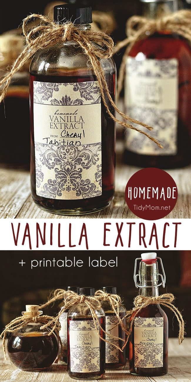 Make the best homemade vanilla extract in just a few minutes of hands-on time. The secret to making your own vanilla extract is using quality vanilla beans and a little patience. It makes a great homemade gift! Get all Homemade Vanilla Extract recipe + printable label at TidyMom.net