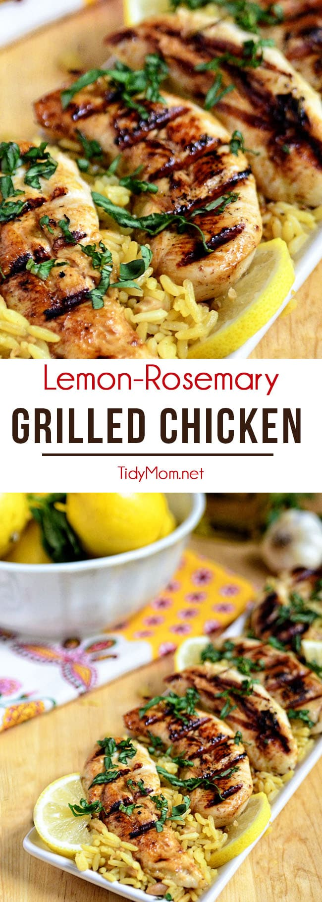 This Lemon Rosemary Grilled Chicken cooks up on the grill in under 10 minutes! Marinade ahead of time for a quick, healthy and delicious chicken dinner. Print the recipe at TidyMom.net