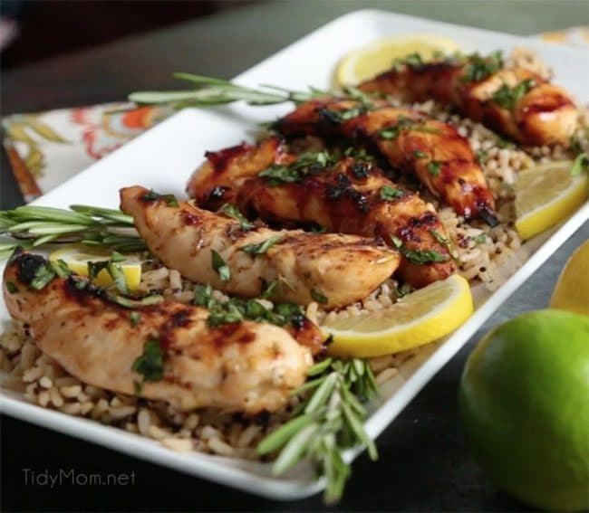 lemon rosemary grilled chicken plated with rice