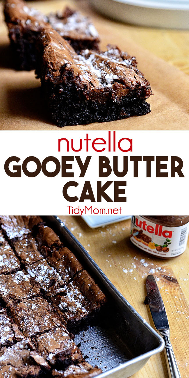 Nutella adds a delicious twist to a St. Louis tradition, where the cake becomes the crust and holds a gooey cream cheese and Nutella filling. NUTELLA GOOEY BUTTER CAKE is a great addition to parties or potlucks and can be prepared up to three days in advance. Watch recipe video and print recipe at TidyMom.net #cake #nutella #gooeybuttercake #chocolate