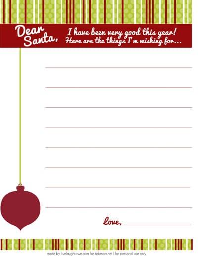 Dear Santa Wish List FREE Printable at TidyMom.net