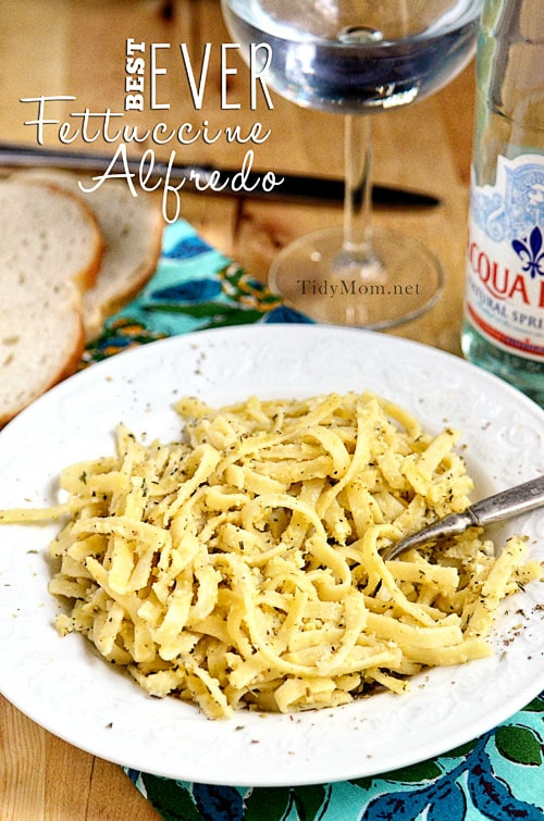 Best Ever Fettuccine Alfredo Recipe comes together in less than 30 minutes.  Print the easy recipe at TidyMom.net