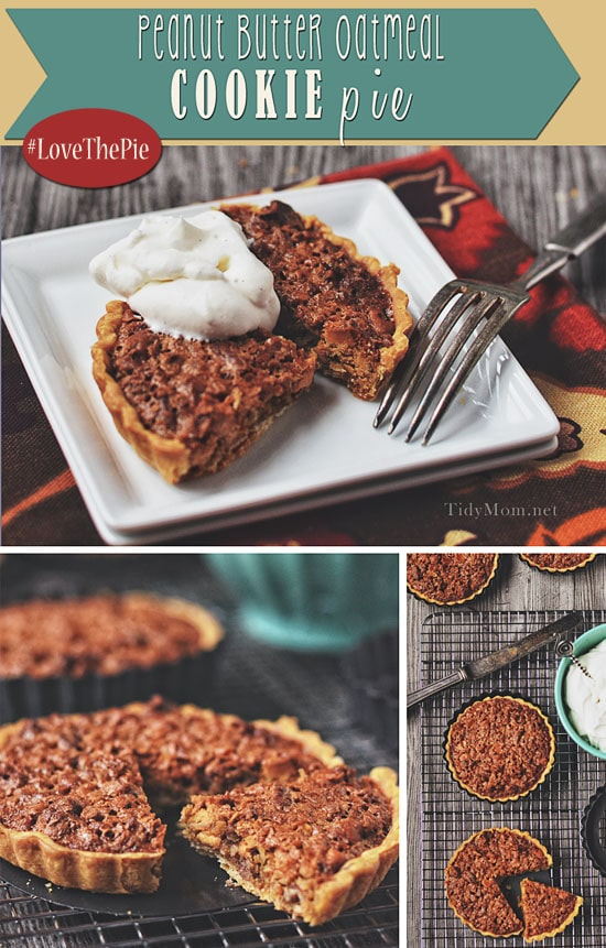 Do not to deny yourself the pleasure of this Peanut Butter Oatmeal Cookie Pie! This rugged pie travels well and will remind you of a big fat Peanut Butter Oatmeal cookie! get this pie recipe at TidyMom.net