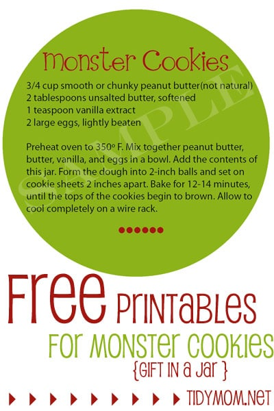 FREE Printable Monster Cookies Instruction Label at TidyMom.net