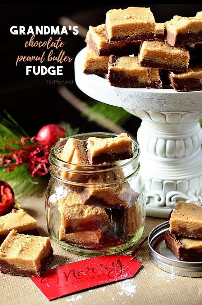 Grandma's Chocolate Peanut Butter Fudge in a jar and on a tray