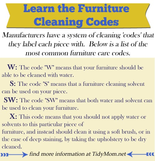 Furniture Cleaning Codes at Tidymom.net