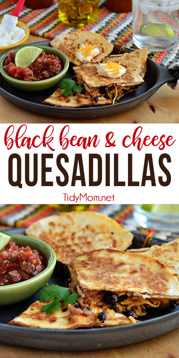 Black Bean and Cheese Quesadillas with salsa and cumin are perfect for a quick and hearty lunch or appetizer! Print the full recipe at TidyMom.net