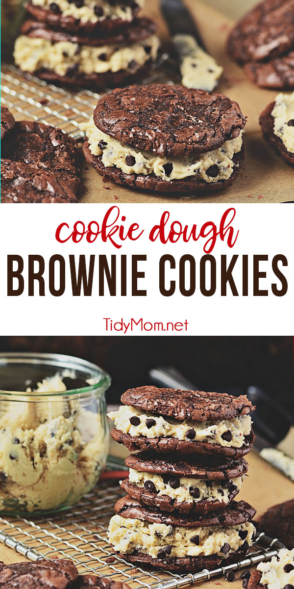 Chocolate Chip Cookie Dough Brownie Sandwich Cookies are a chewy decadent brownie sandwich cookie filled with chocolate chip cookie dough frosting that gives the whole ensemble a four-star rating from any brownie lover. Print full recipe at TidyMom.net #brownies #cookiedough #chocolatechipcookie