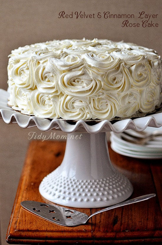 Red Velvet Cake with Cinnamon Buttercream Layer Rose Cake on cake stand