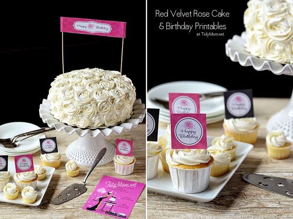 Rose Cake Birthday Printables at TidyMom & Red Velvet u0026 Cinnamon Layer Rose Birthday Cake