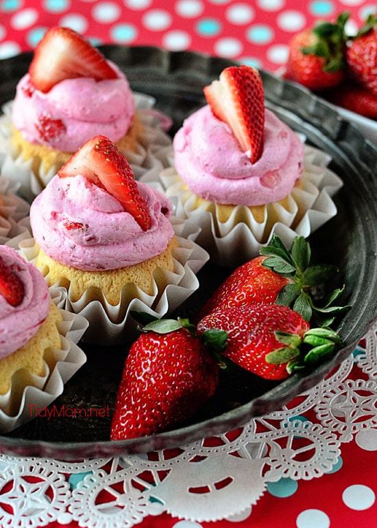 Strawberry Milkshake Cupcakes with pink strawberry buttercream