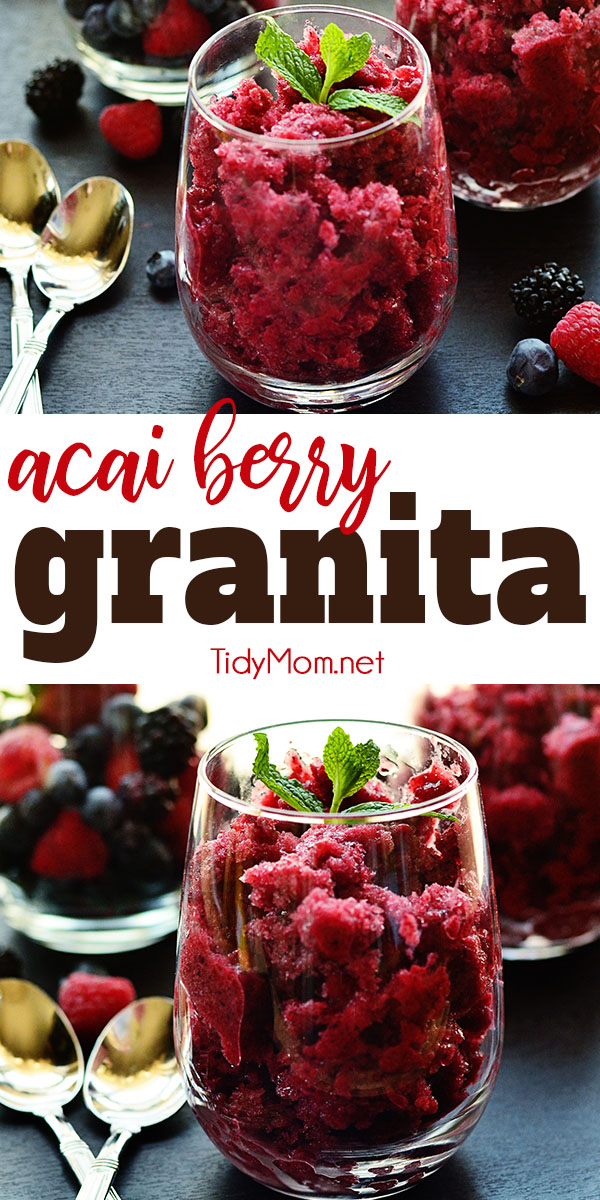 Easy and delicious Acai Berry Granita is a is a semi-frozen dessert. Print the full recipe at TidyMom.net #dessert #granita