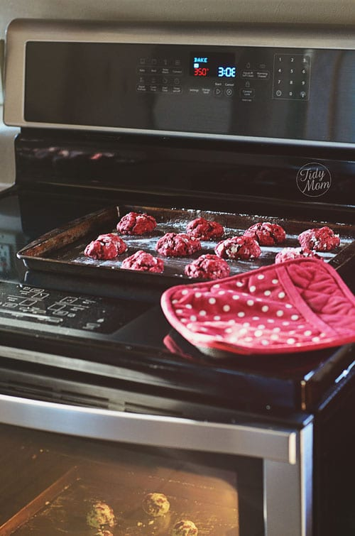 red velvet cookies in the oven