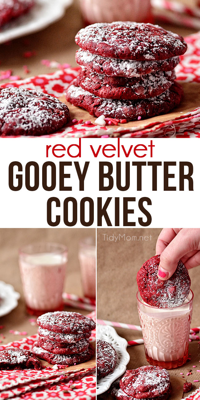 A fun twist on gooey butter cake made into a soft delicious cookie, Red Velvet Gooey Butter Cookies make a perfect holiday treat any day of the year. Print full recipe + recipe video at TidyMom.net #redvelvet #gooeybuttercake #cookies #valentinesday #christmas