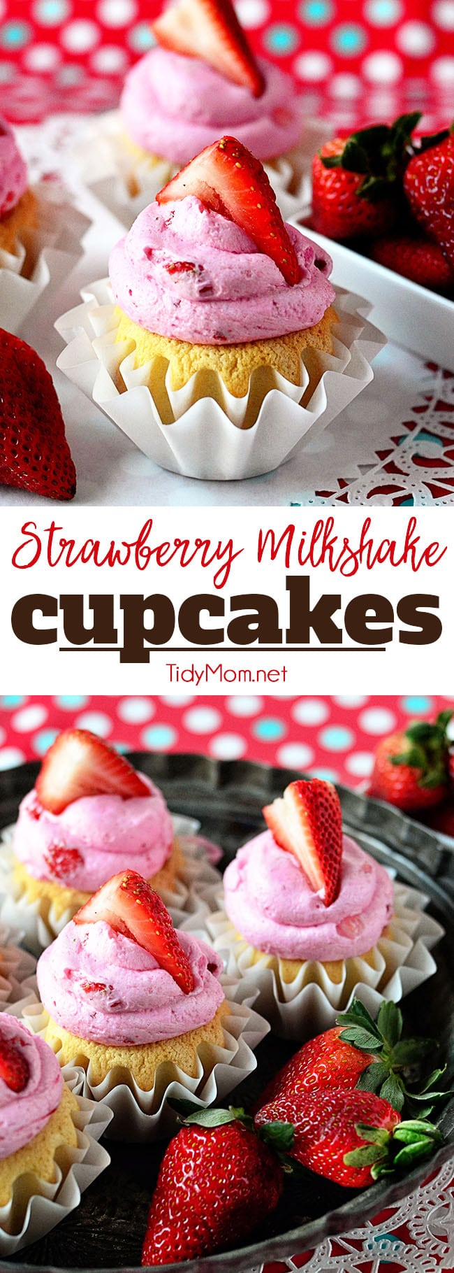Fresh strawberries makes this Strawberry Buttercream the perfect complement to the french vanilla cake beneath in these Strawberry Milkshake Cupcakes. Get the full easy cupcake recipe at TidyMom.net #cupcakes #strawberry #strawberries #buttercream