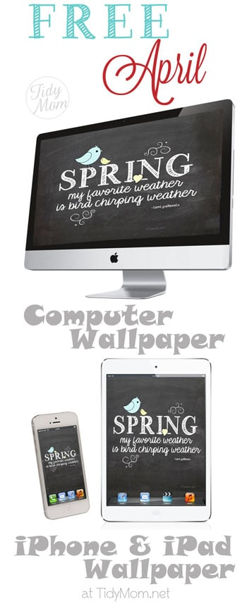 Free Chalkboard April Spring Desktop Wallpaper at TidyMom