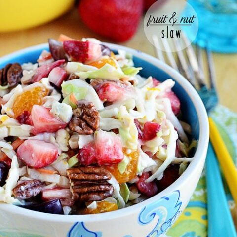 Push that classic slaw recipe aside. Fruit and Nut Slaw with strawberries, grapes and mandarin oranges, dressed in a light slaw dressing with pecans and blue cheese, is a great cool summer side dish that everyone loves. It needs time for the flavors to meld and pairs well with anything. Make it for your next BBQ!