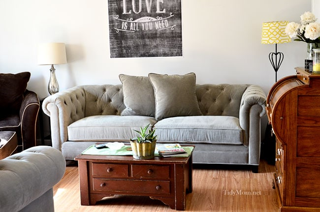 Gray Tufted Back sofa at TidyMom