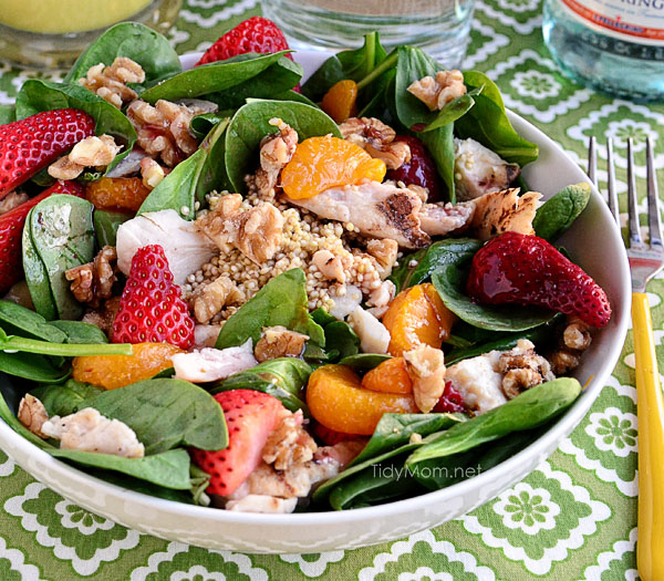 Strawberry Orange Spinach Salad with Quinoa at TidyMom