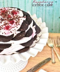 Raspberry Icebox cake is an easy, no-bake dessert with layer after layer of chocolate wafers and raspberry whipped cream. Get the full printable recipe at TidyMom.net