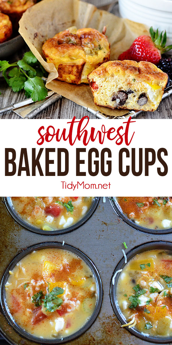 To ease the morning scramble, make these Southwest Baked Egg Cups the night before or over the weekend, wrap in a paper towel and store in an airtight container in the refrigerator.  In the morning just grab and reheat for a minute in the microwave for a fast delicious protein-packed hot breakfast at home or on the go. Print the full recipe at TidyMom.net #breakfast #eggs #tidymo