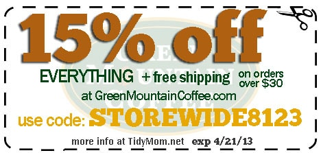 Green Mountain Coffee coupon STOREWIDE8123