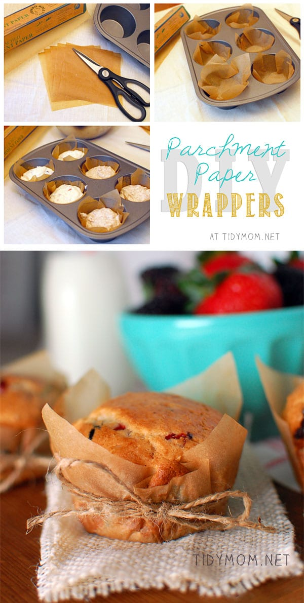 Crisp parchment paper wrappers give these MIXED BERRY MUFFINS a just from the bakery feel.  Get the muffin recipe and wrapper tutorial at TidyMom.net