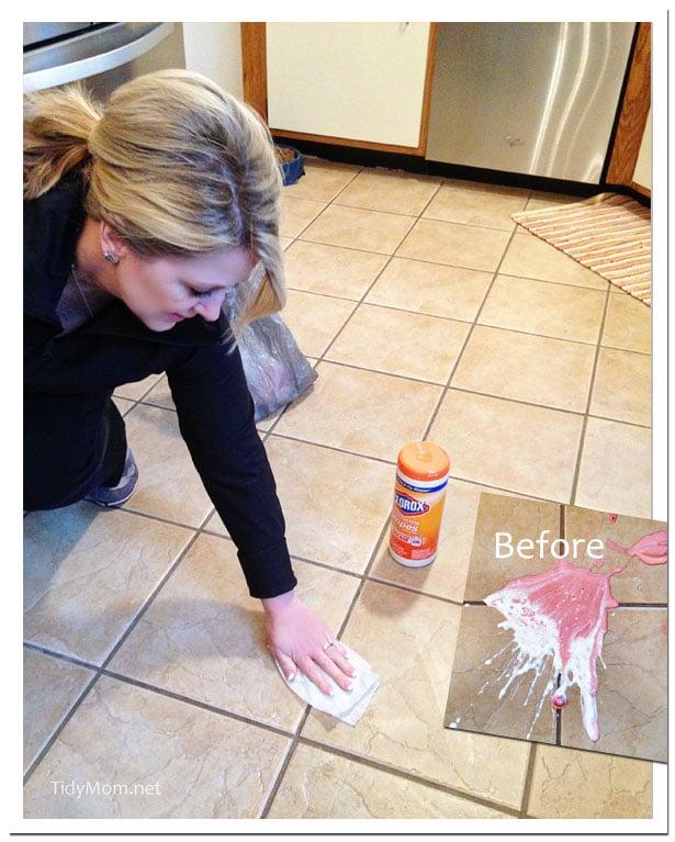 Shake Drop Clorox Clean up at TidyMom