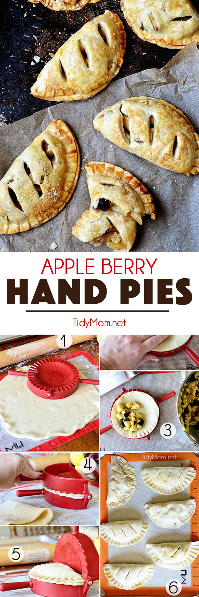 Forget the plates and forks, hand pies are the best way to enjoy pie. Refrigerated crust and a pie press make this APPLE BERRY HAND PIES simple and quick. Print the full recipe at TidyMom.net #pie #handpies #pies #pierecipe #apple #applepie