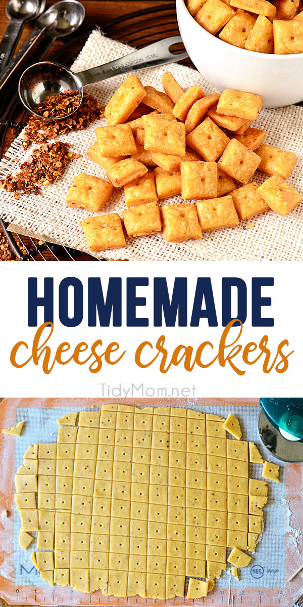 With only 6 easy ingredients you can have flaky delicious homemade cheese crackers in under an hour. You'll fall deeply in love with the flavor, sharp cheddar kissed with a touch of red pepper for a bit of a kick.  Since you know what's in them, you won't have to feel so guilty eating them.  Print the full recipe at TidyMom.net #crackers #recipe #cheese
