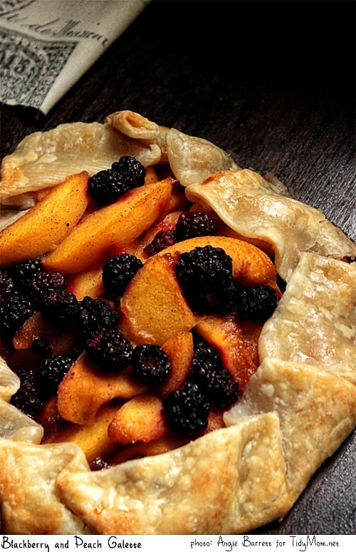 Blackberry and Peach Galette recipe from Angie Barrett featured at TidyMom.net