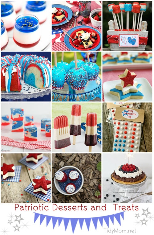 Patriotic Desserts and Treats entertaining and decor ideas for 4th of July and Memorial Day at TidyMom.net
