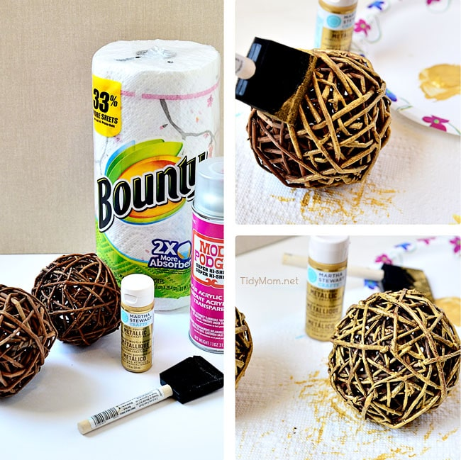 Paint Grapevine Balls gold - at TidyMom.net