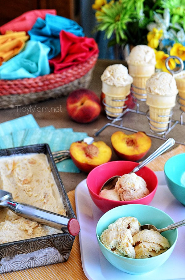 Roasted Brown Sugar Peaches and Cream Frozen Custard in bowls