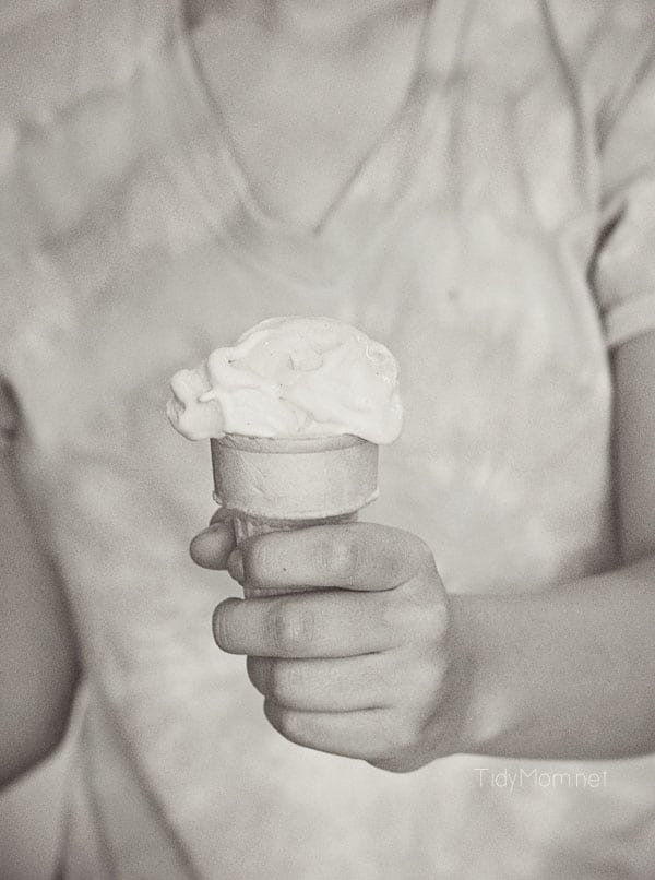 Homemade Ice Cream Cone in hand | TidyMom.net