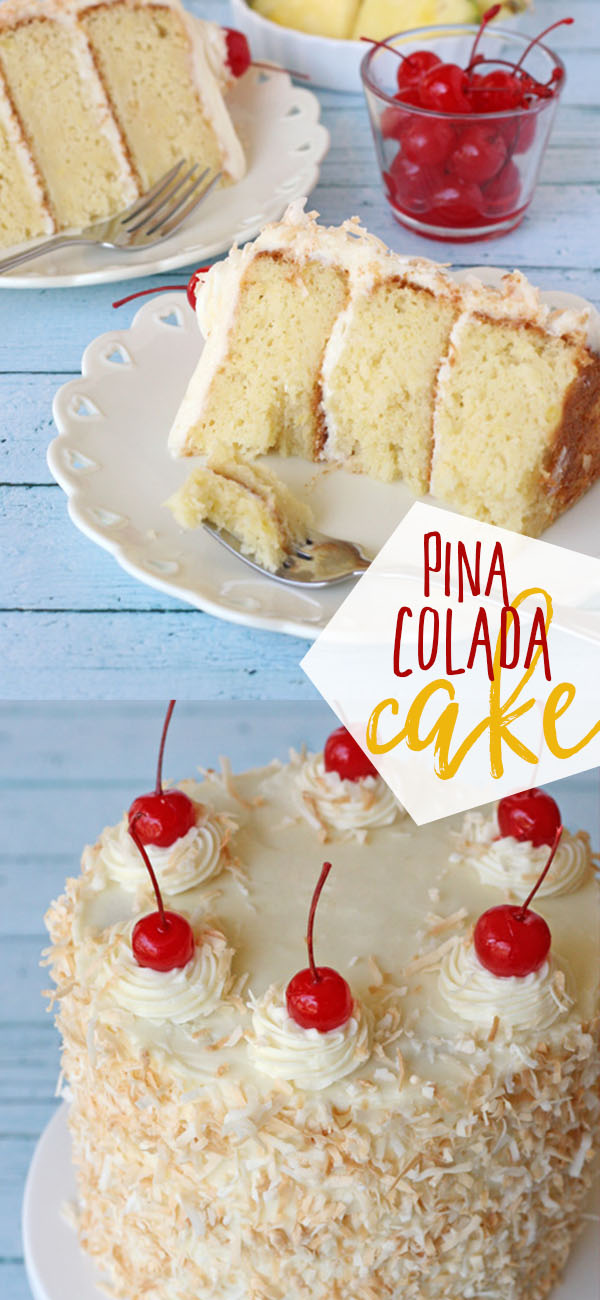 This Pina Colada Cake has all the flavors of the favorite frozen cocktail. One bite of the tropical dessert, a moist pineapple cake, paired with a rich coconut cream cheese frosting and you've escaped to paradise. Print this Pina Colada Cake recipe at TidyMom.net