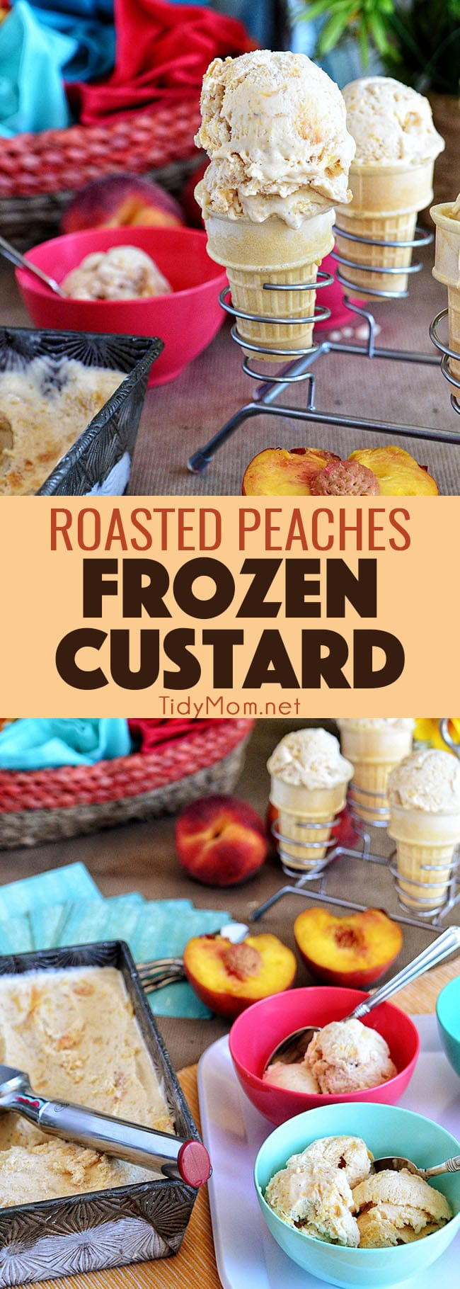Roasted Peach Frozen Custard on a cone and in a bowl