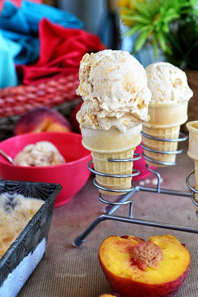 Peach frozen custard in cones and bowls