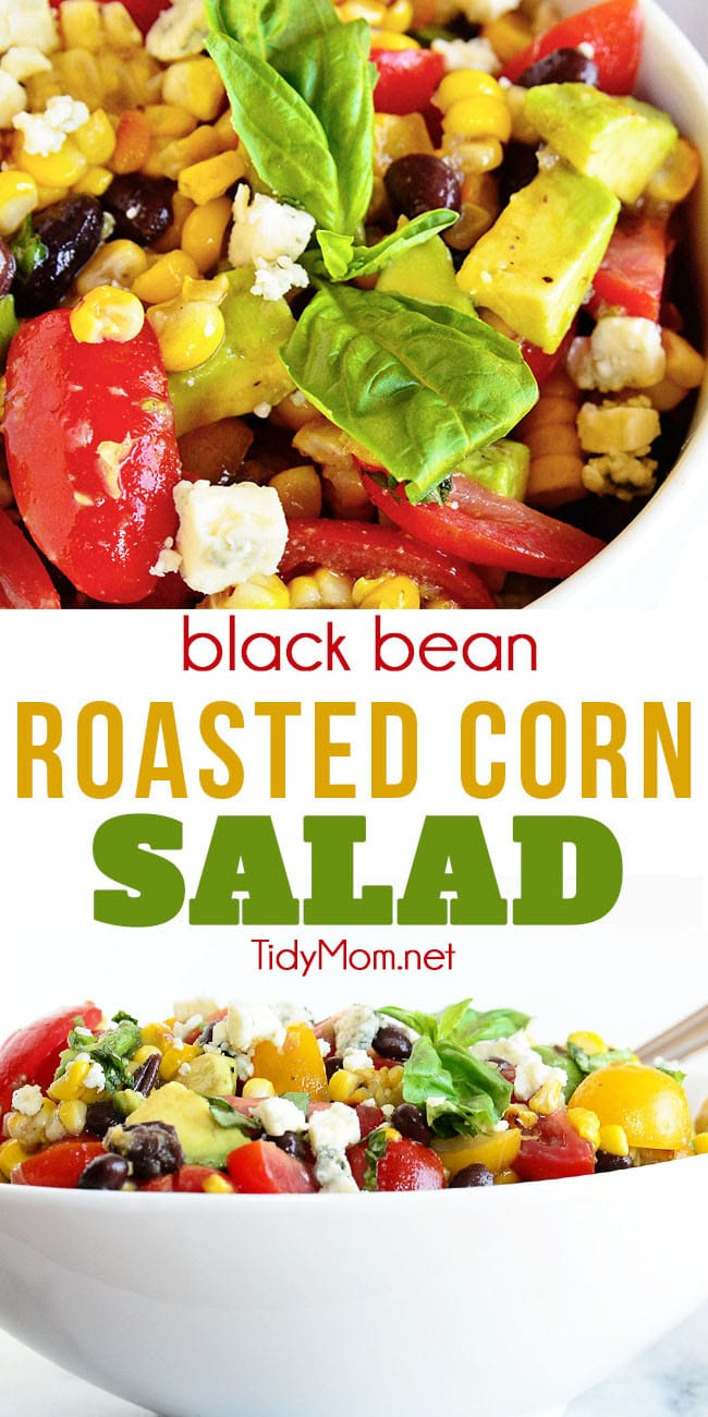 This black bean roasted corn salad recipe is super flexible and can be made the way you want with your favorite vegetables. Corn can be grilled ahead of time to make it a breeze to throw together any time. print the recipe at TidyMom.net #salad #roastedcorn #grilledcorn #blackbean #summer