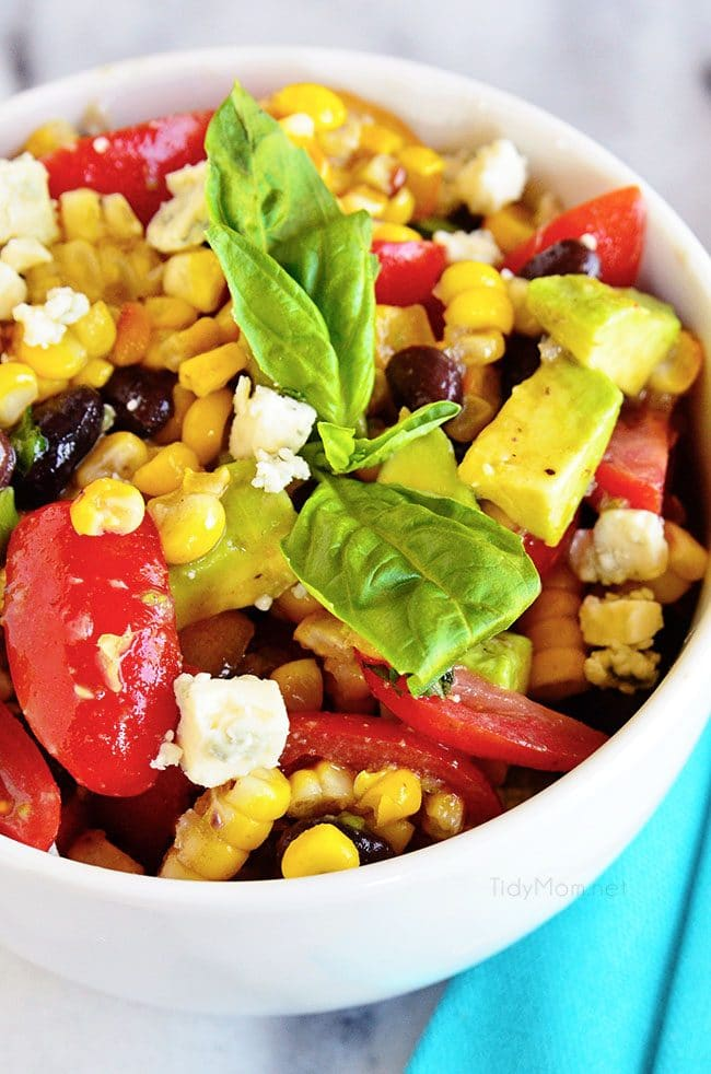 black bean roasted corn salad close up in bowl