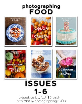 photographing FOOD e-book series.  Issue 1-6 just $5 each