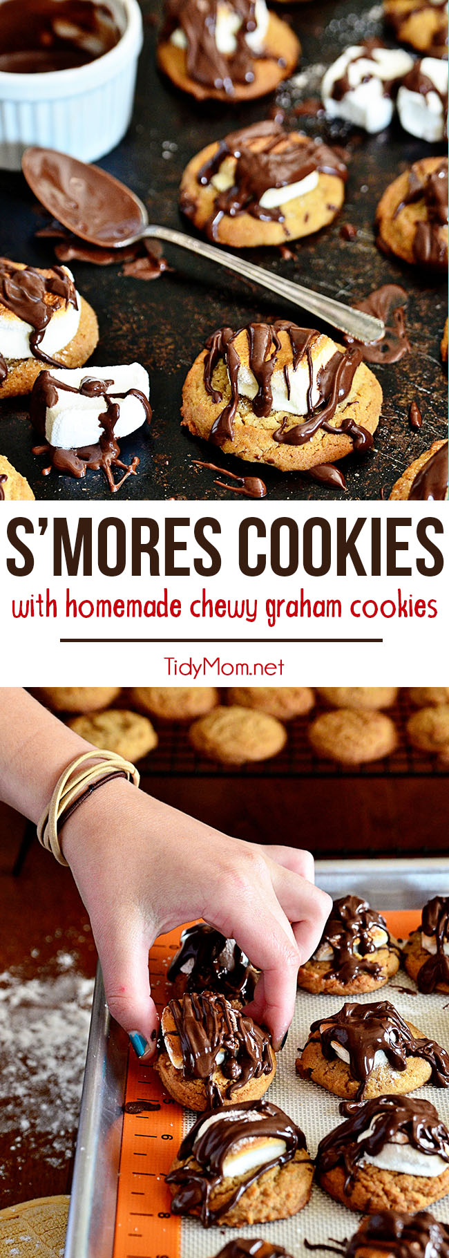 Take a homemade chewy graham cookie, top it with toasted marshmallow and crown it with a drizzle of chocolate and you have a fun twist on the classic campfire treat. S'mores Cookies printable recipe at TidyMom.net