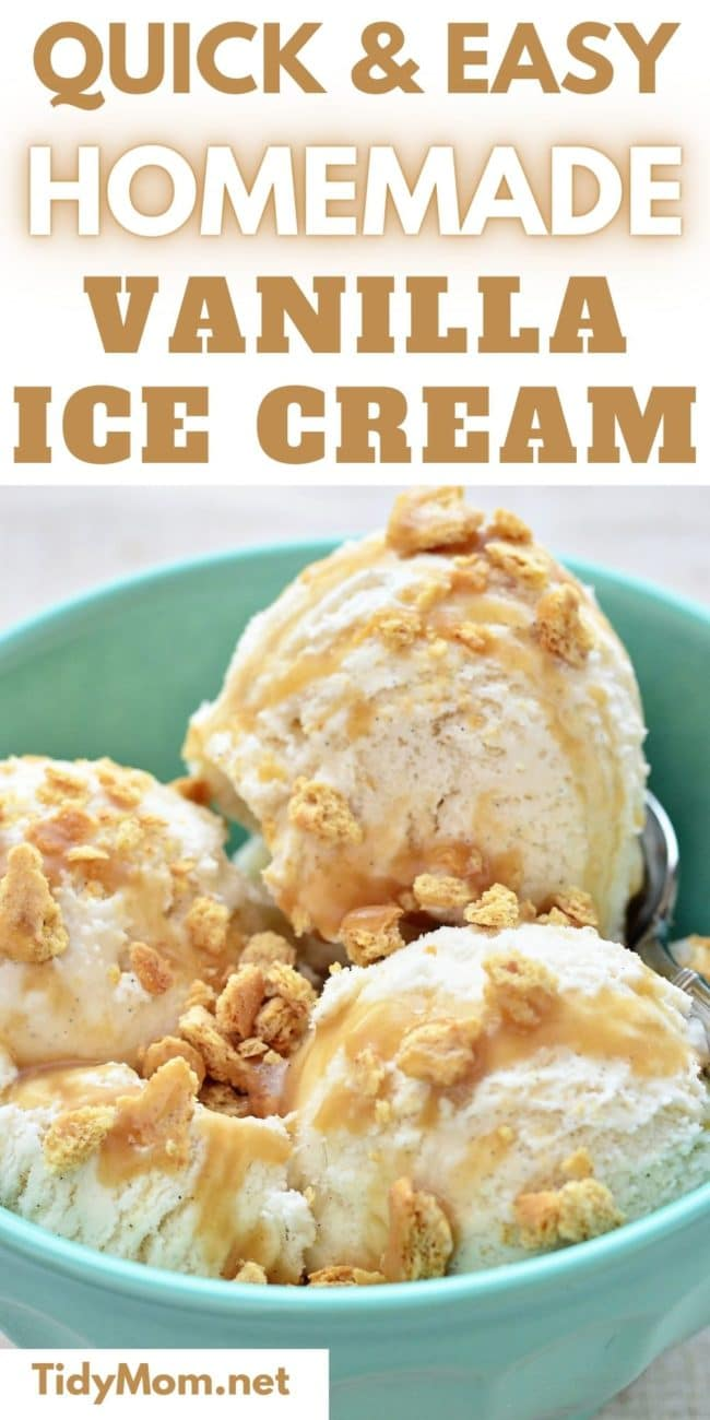 scoops of homemade vanilla ice cream in a blue bowl