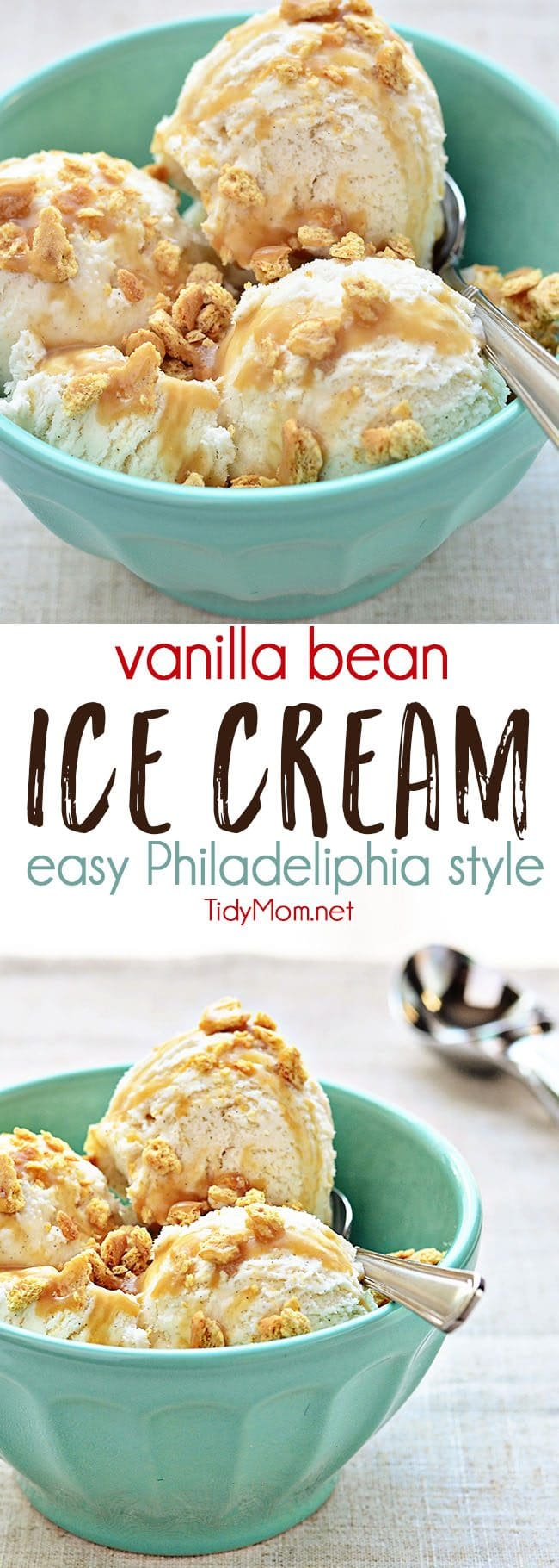 Vanilla Bean Ice Cream Recipe - Everyone should have a truly-easy and delicious no-cook vanilla ice cream recipe in their arsenal. Philadelphia style ice creams are quicker to make, don't involve any cooking, and have a heavy cream/milk mixture for the base. Print the full recipe for HOMEMADE VANILLA BEAN ICE CREAM at TidyMom.net