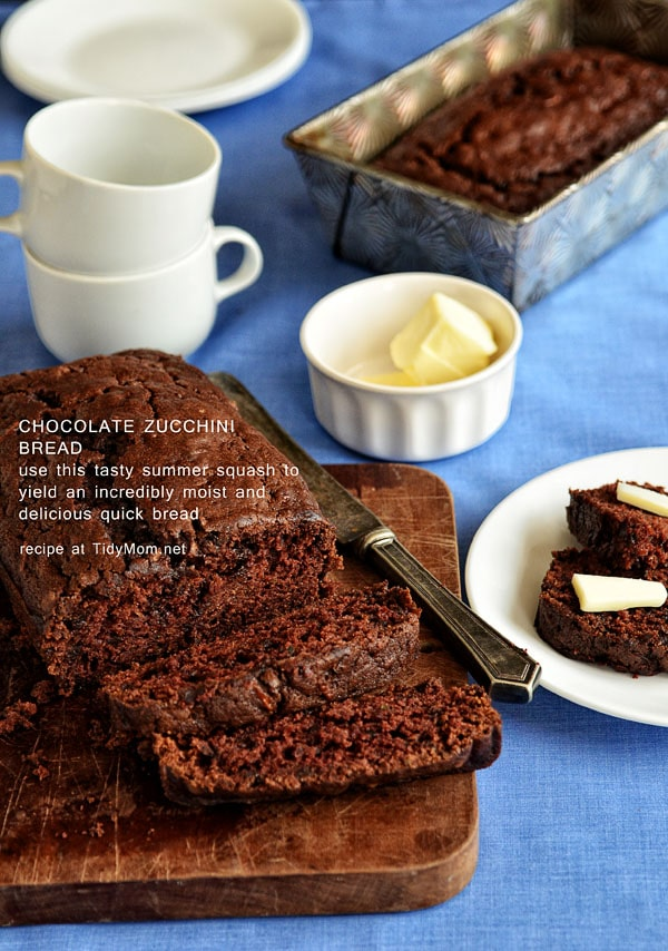 Moist and delicious Chocolate Zucchini Bread sliced on cutting board