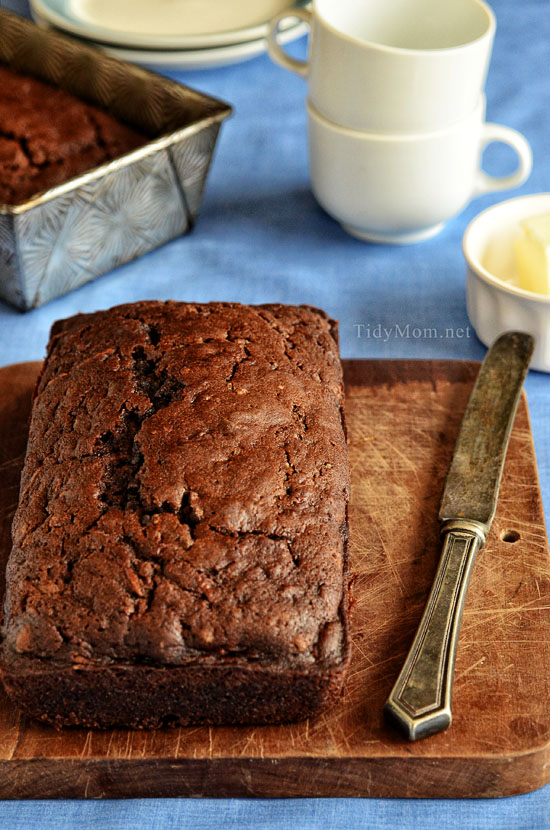 Moist and delicious Chocolate Zucchini Bread loaf on cutting board