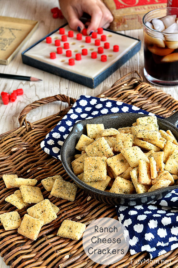 Homemade Rach Cheese Crackers recipe -- Find crafts, printables, recipes and more for a Back to School Meal Plan at TidyMom.net